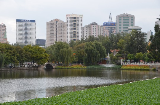 View of Kunming's city center from Green Lake Park.